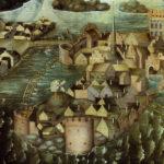 Detail from Vädersolstavlan showing the medieval towers on w:Riddarholmen,