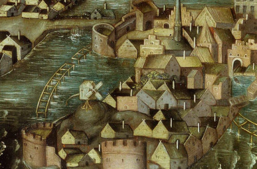 Detail from Vädersolstavlan showing the medieval towers on w:Riddarholmen,