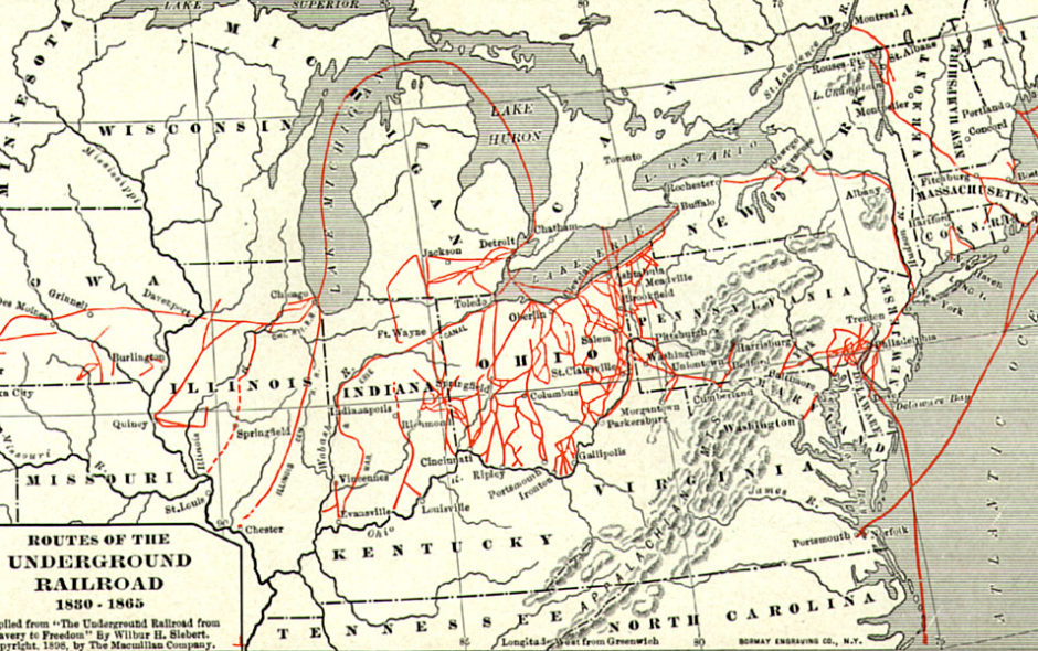 Map of various Underground Railroad escape routes in the Northern United States and Canada